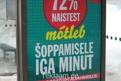 Viru keskuse reklaam bussipeatuses
